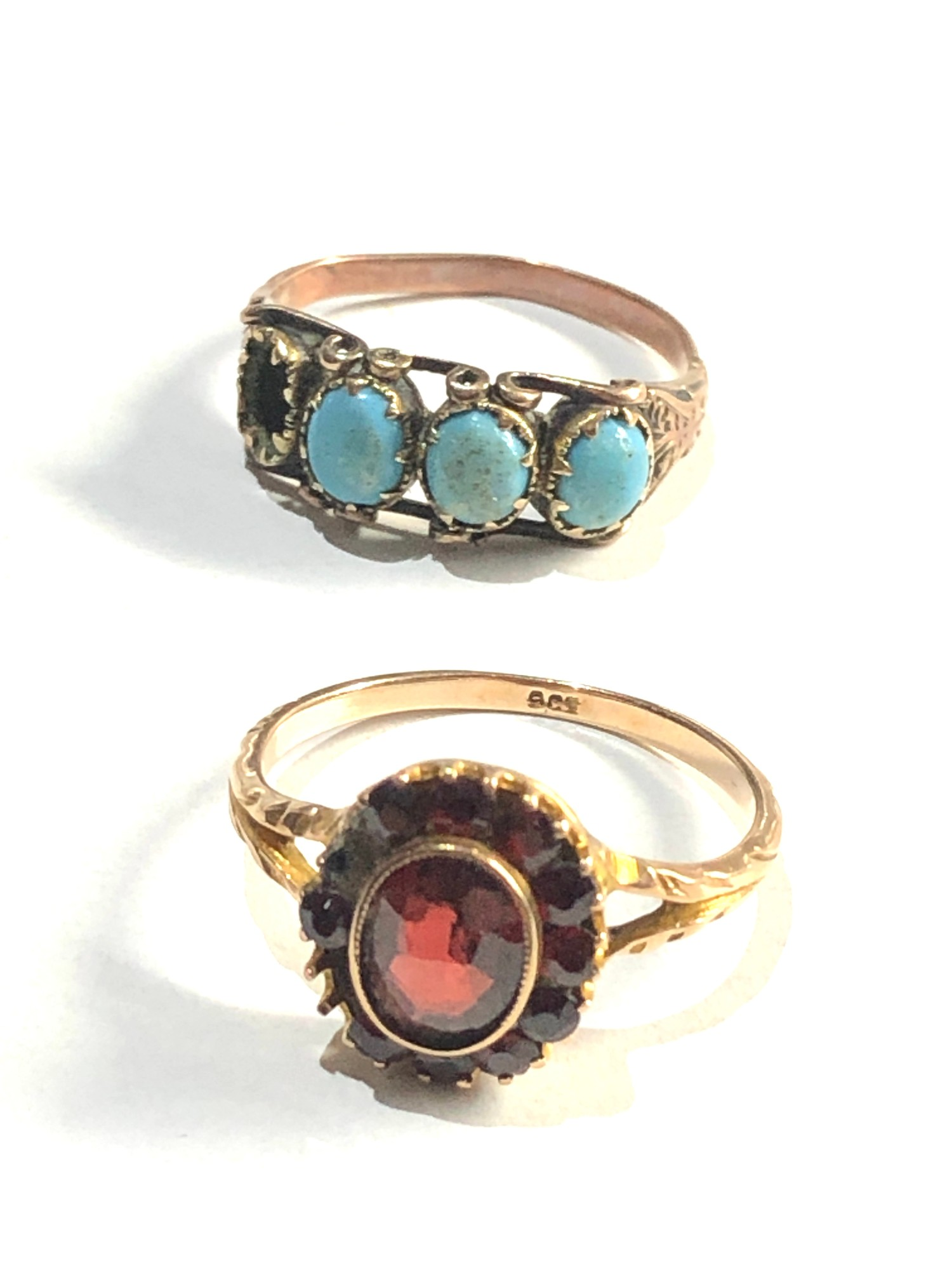 2 x Antique 9ct gold rings inc. garnet, turquoise *one stone missing