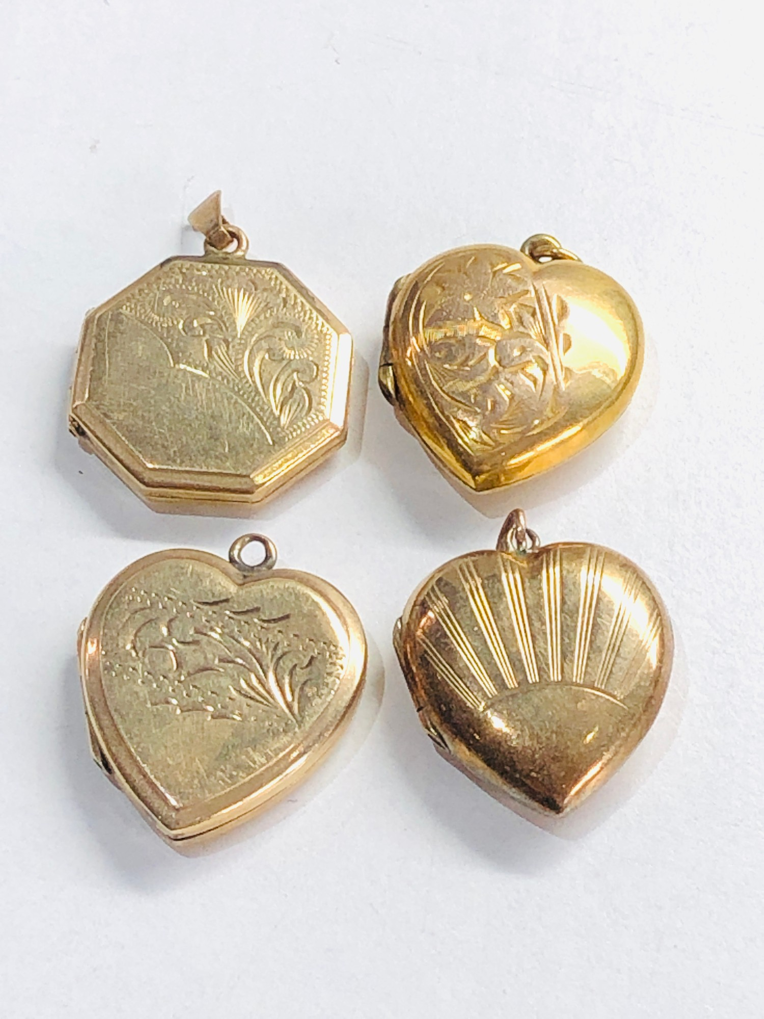 4 x 9ct back & front lockets 12.8g