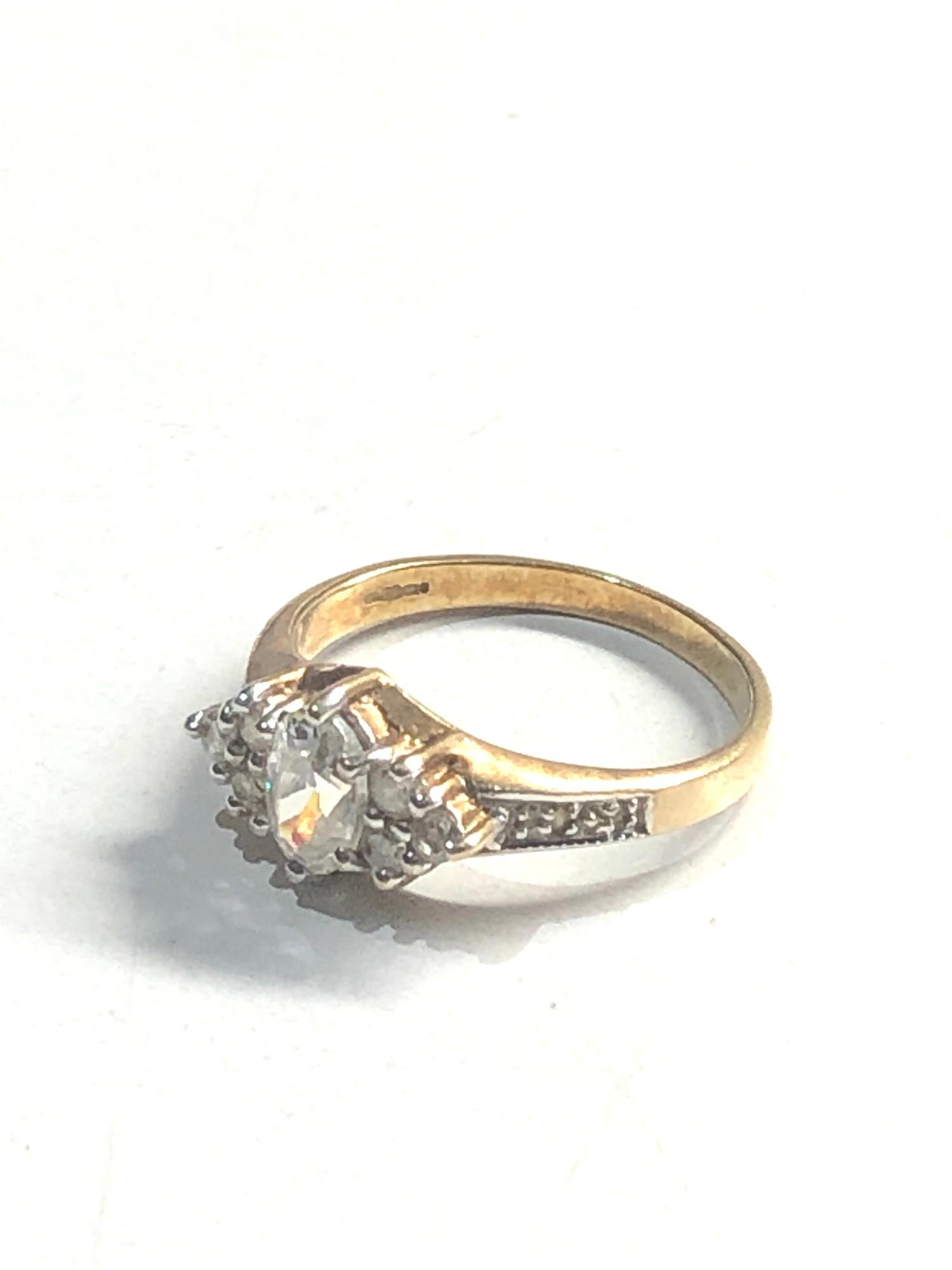 Vintage 9ct gold diamond shouldered ring 1.9g - Image 2 of 3