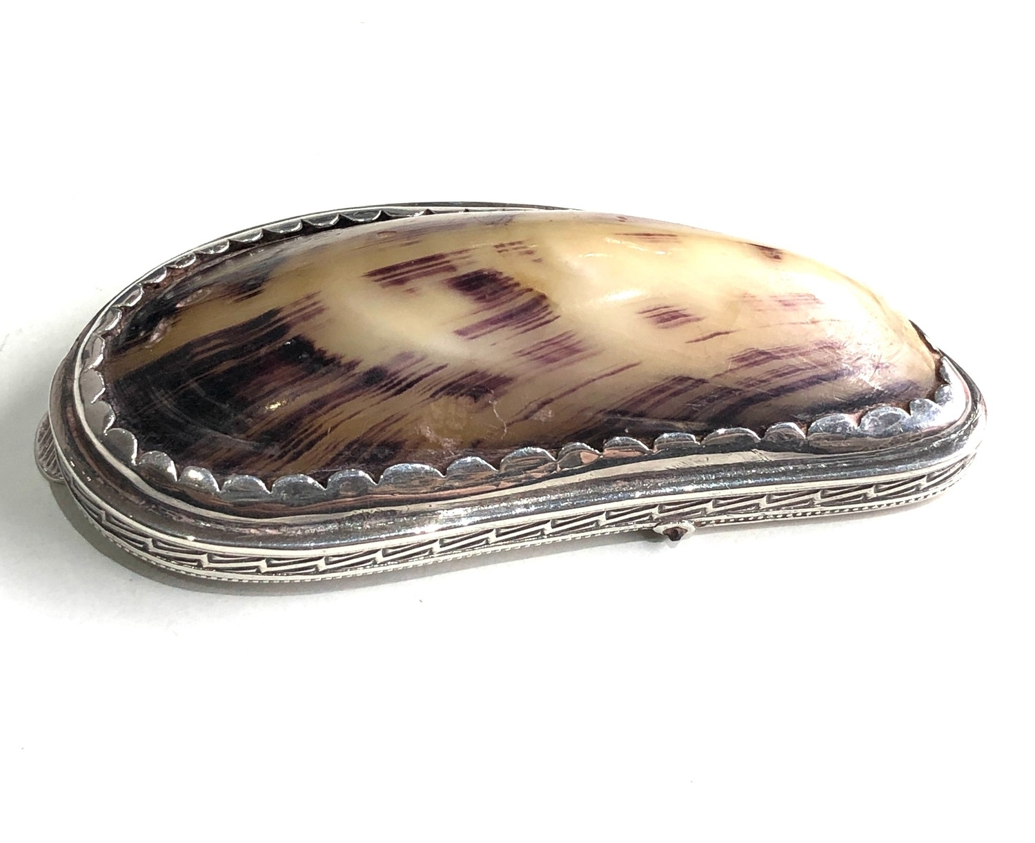 Antique silver and shell snuff box measures approx 8.3cm by 4cm xrt as silver no hallmarks