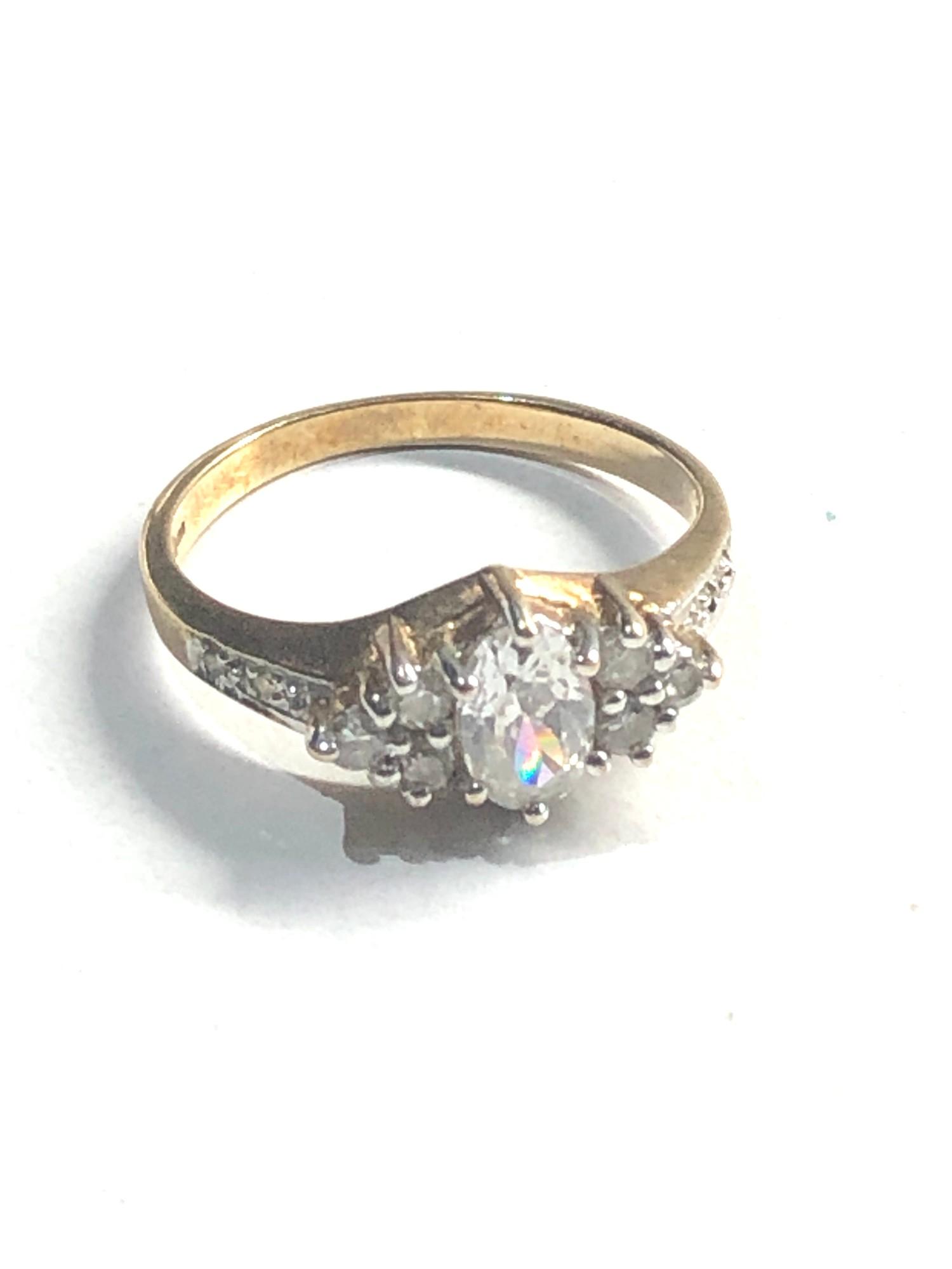 Vintage 9ct gold diamond shouldered ring 1.9g
