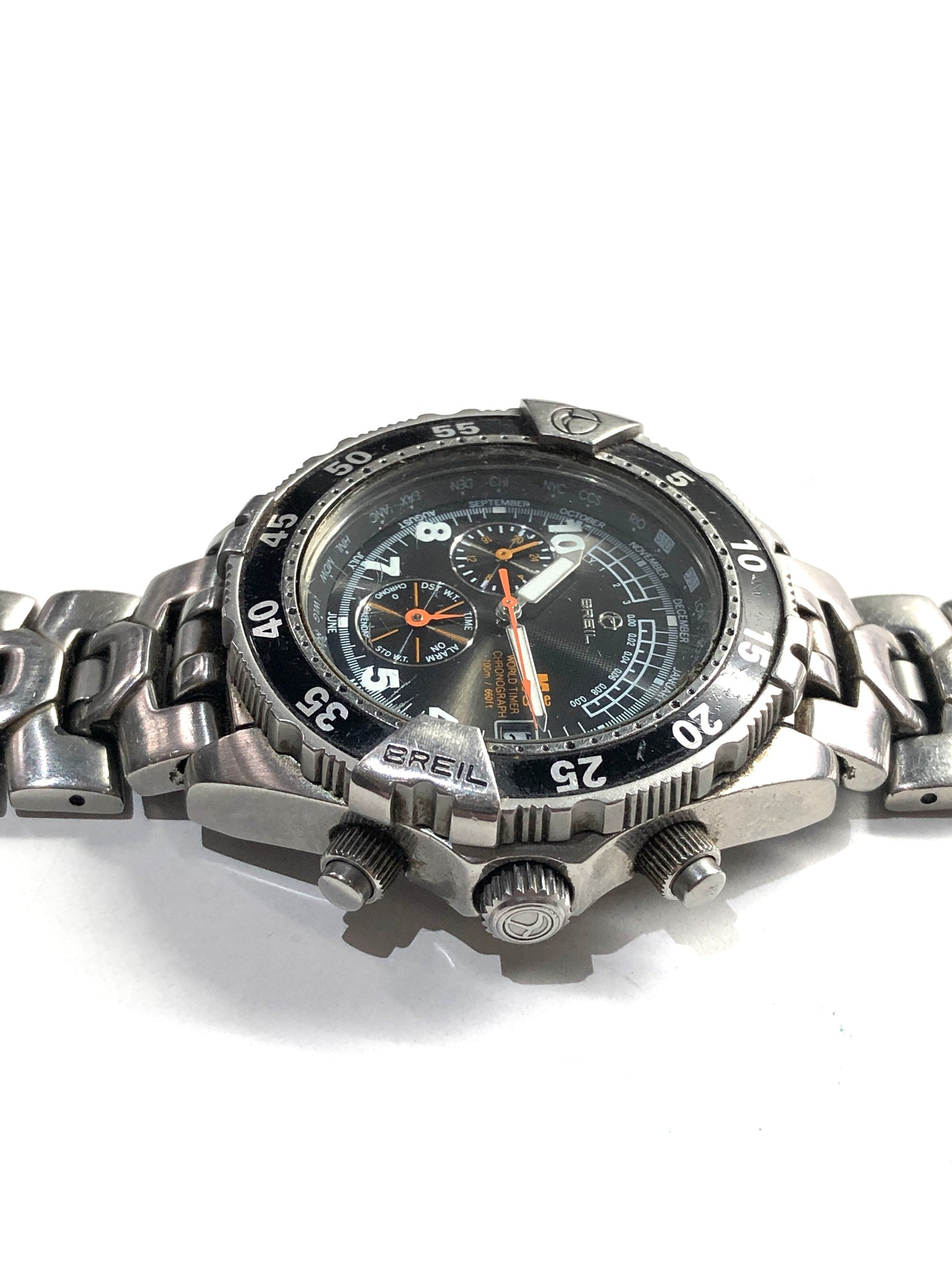 Gents Breil world timer chronograph wristwatch spares or repair - Image 2 of 5