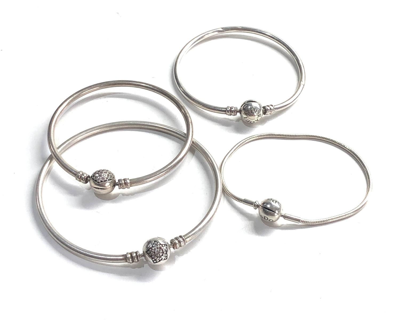 4 silver pandora bracelets