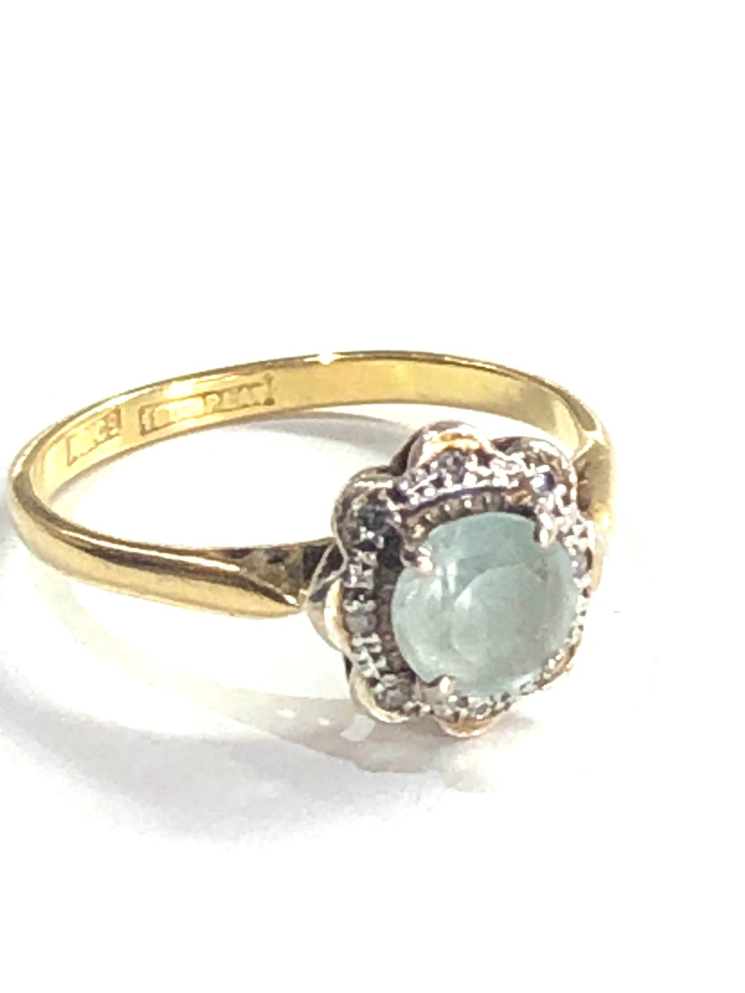 Antique 18ct gold topaz & diamond halo set ring 3.2g - Image 2 of 2