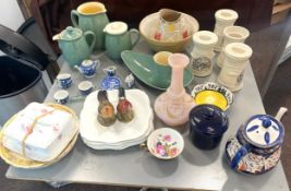Selection of miscellaneous pottery items to include miniature dolls house tea set, Denby, etc