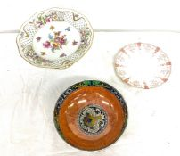 3 pieces of pottery to include early Crown Derby plate, Maling bowl, Bavaria comport, all in good
