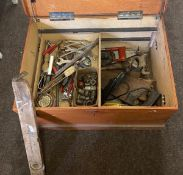 Large tool box with tools, to include spanners, saws, screwdrivers, sockets etc.