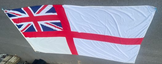 Standard large Ensign white flag, from HMS Gloucester, Height 68 inches, Width 140 inches