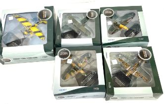 Selection of 5 Boxed Oxford aviation fighter planes to include Henschel Hs 123A-1, Bell P400 (P39)