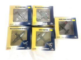 5 Boxed Witty Wings birds of prey models to include P51-D Mustang, Messerschmitt BF109G-6 x 2,
