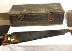 Vintage wooden tool box with tools, to include saws, planes etc