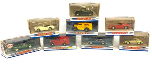Large selection of boxed dinky cars includes DY24, DY4, DY20, DY6b, DY25, DY3, DY8, DY1