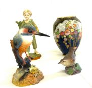 Crown Derby Kingfisher, Royal Worcester parakeet figure, Crown Devon vase, Royal Worcester Wren