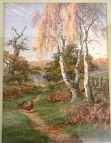 Framed watercolour signed Chas E Baldock, Country scene with pheasants, approximate frame