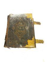 Large antique brass bound bible