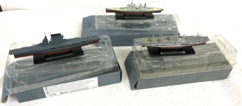Atlas Editions model battle ships scale to include USS Lexington, HMS Ark Royal, HMS Duke of York