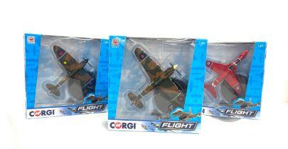 3 Boxed Complete Corgi Flight models, CC99307 Hawker Hurricane Mk11, CC99302 Supermarine Spitfire