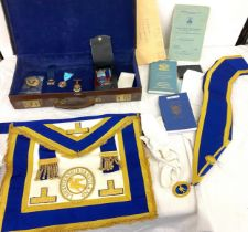 Cased Masonic jewelled apron, papers, medals, gloves etc