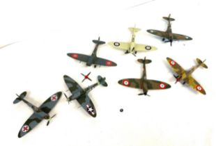 Selectionof Corgi and Matchbox Diecast fighter planes to include Spitfire etc, some need of small