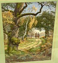 Framed watercolour signed Chas E Baldock, bridleway scene, approximate frame measurements: 40cm wide