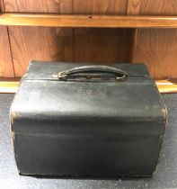 Fine Antique leather silver fittings gladstone bag with all attachments