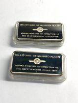 2 Solid silver milestones of manned flight ingots each 31.6g