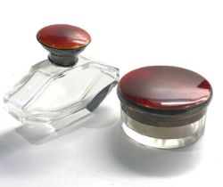 2 antique silver & enamel top bottles