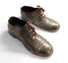 Pair of antique silver shoes wooden soles each measures approx 12.5cm long Birmingham silver