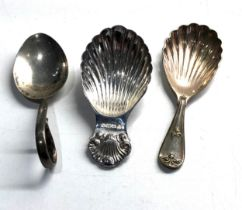 3 tea caddy spoons 2 hallmarked silver 1 silver plated