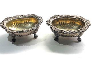 Large Antique georgian silver salts London silver hallmarks each measure 12cm by 9.5cm height 4.