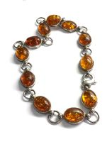 .925 sterling silver & amber heavy ring/ bead chain choker necklace 80g