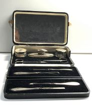 Boxed Antique silver vanity nail set - buffer, nail files scissors and silver top pots sectional