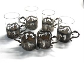 Continental silver shot glasses 6 silver bases 4 glasses