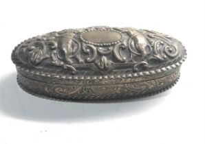 Antique victorian silver trinket box measures approx 15cm by 7cm height 4cm weight 145g