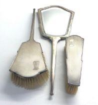 Antique engine turned silver brush set Birmingham silver hallmarks
