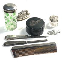 Selection of silver items includes silver top jars pin box etc