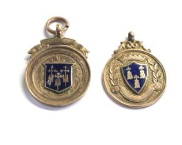 2 vintage gold & enamel fobs weight 10g