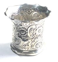 Antique silver floral embossed vase Sheffield silver hallmarks measures approx 9cm dia height 9cm