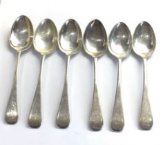 set of 6 silver tea spoons sheffield silver hallmarks weight 100g
