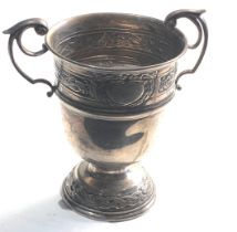 Irish Silver twin handled cup measures approx 12cm tall 8cm dia weight 136g