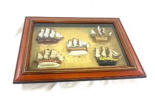 Framed display showing Cuty Sark 1869, Mayflower 1620, HMS Endeavour 1728, Santa Maria 1492, HMS