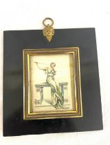 """Antique framed painting on silk measures approx 5.5"""" tall frame on back says """"WLCD coventry 1890"""""""
