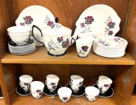 Royal Albert Black Rose double Teaset, comprising 12 cups and saucers, 12 plates, 1 Tea pots, 2 milk