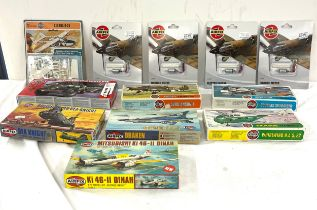 Selection of boxed Airfix models includes french sea knight 02065, Anson 02009, draken 02039,