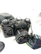 Zenit E 35mm Film Camera with lens, Praktica 1:18 Pentacon len, Helios flash, with large carry case,