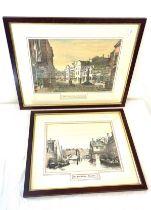 2, Vintage framed prints of Leicester depicting Highcross street, Old West Bridge, largest frame