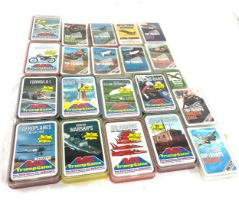 Selection vintage and later cased Trumps cards to include Motor cycles, military planes, bombers etc