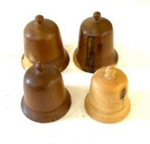 4 Turned, screwed bell wooden ring boxes