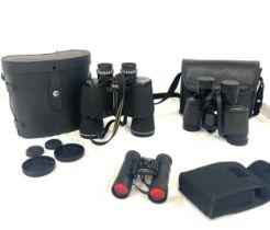 Miranda 10 x 50 binoculars, prisma zoom 7x - 15 x 35 binoculars, Optus 10 x 25 binoculars, all