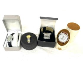 Selection of 4 boxed Yess, Figaro and Rave battery operated ladies and mens watches, all in